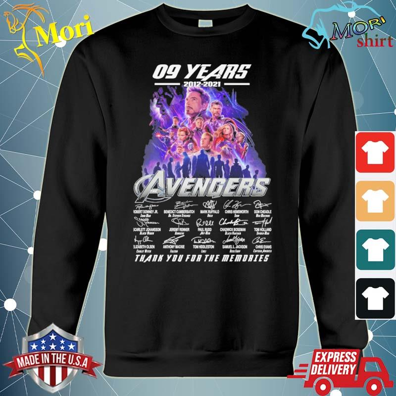 09 years 2012 2021 The Avengers thank you for the memories signatures s hoodie