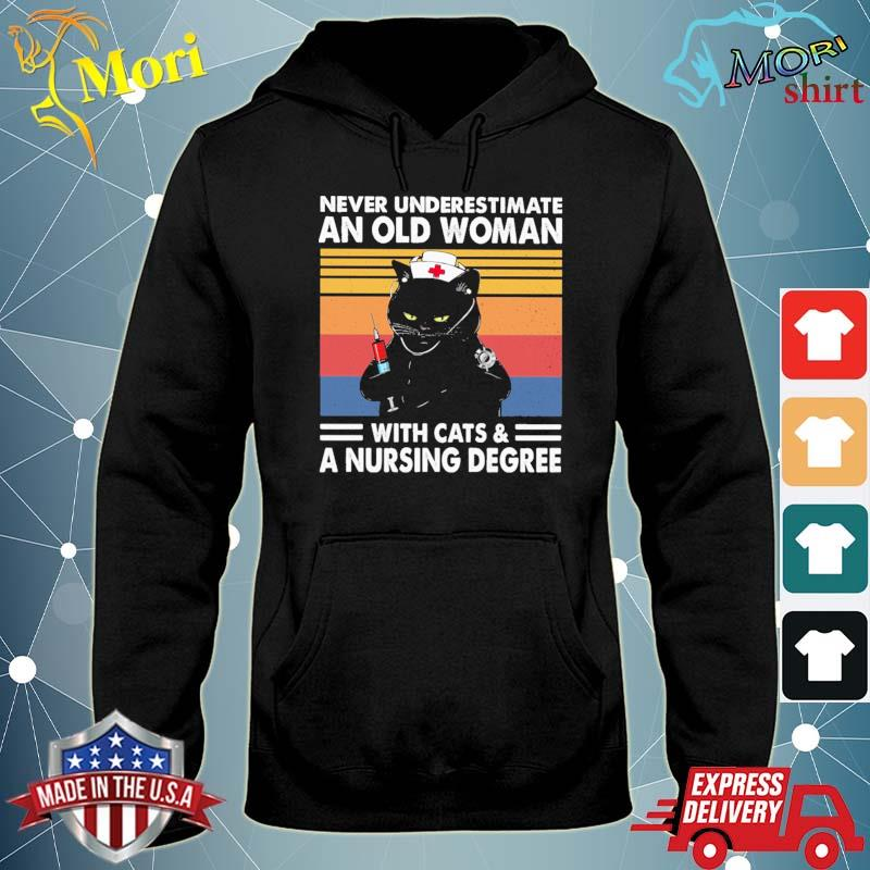 Black Cat Never underestimate an old Woman with Cats and a Nursing Degree vintage s sweater