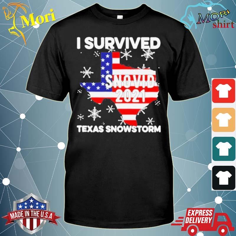 I survived snovid 2021 Texas snowstorm American flag shirt