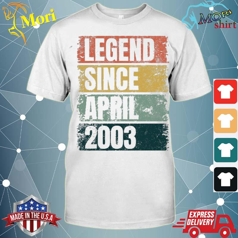 18th birthday gifts age 18 years legend since april 2003 ver2 shirt