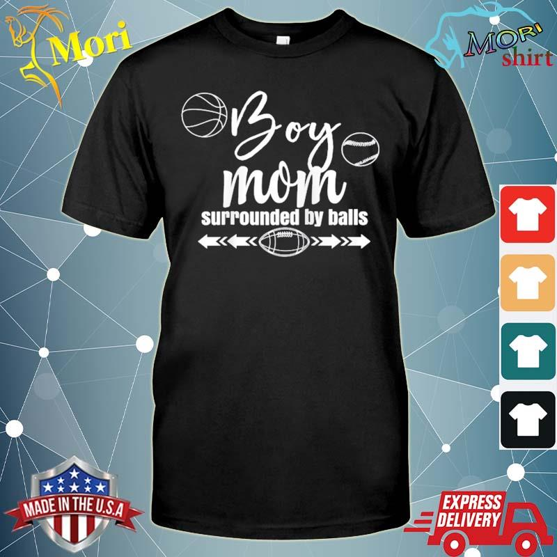Boy mom surrounded by balls trendy funny family gift raglan baseball shirt