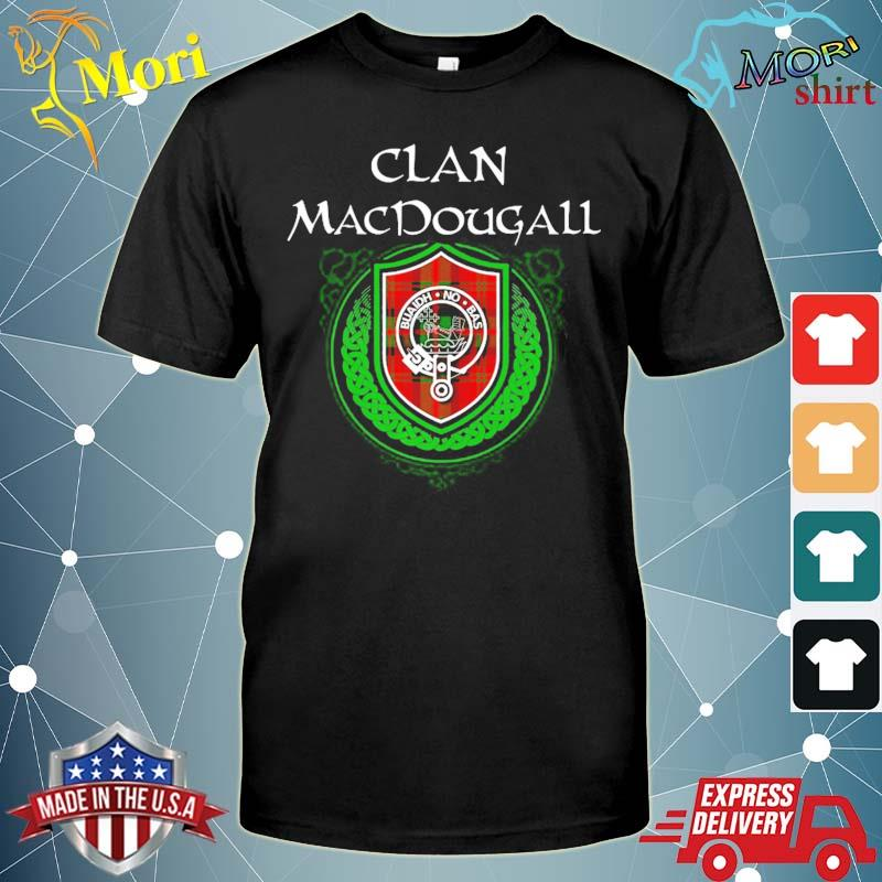 Macdougall surname scottish clan tartan shield badge shirt