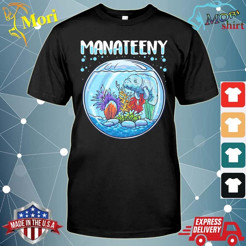Manateeny funny manatee lover sea cow floaty potatoes pun shirt