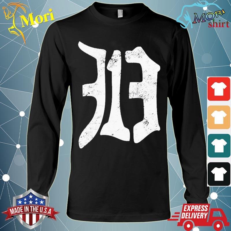 Detroit 313 Vintage Old English D Area Code Shirt Long Sleeve