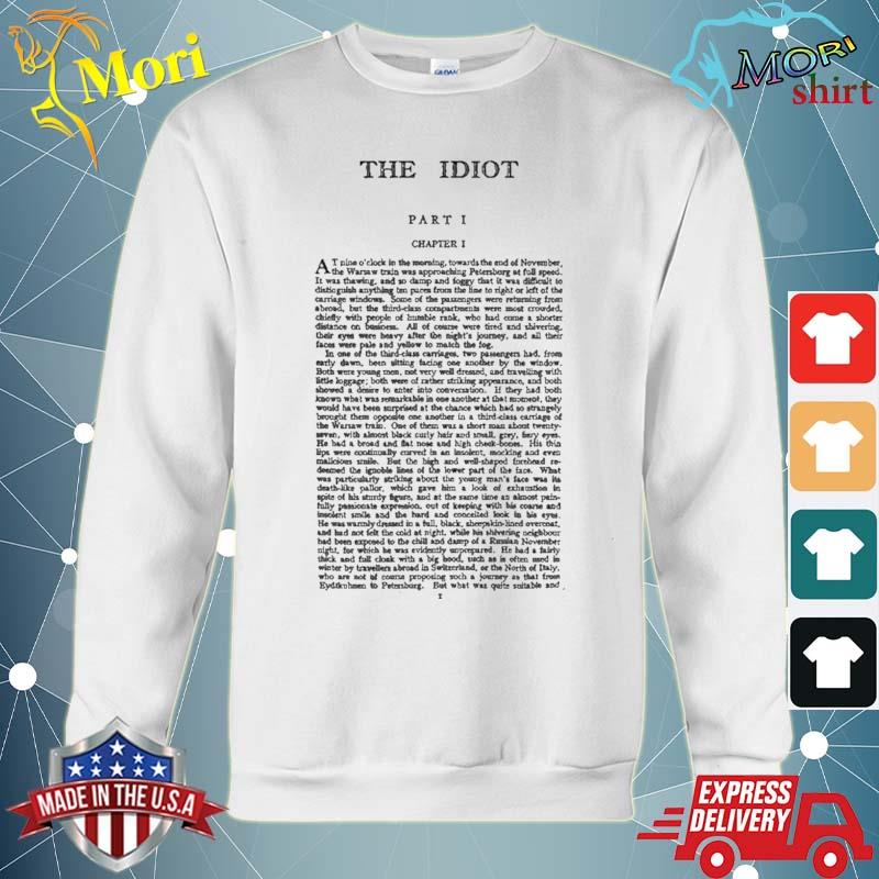 High Resolution The Idiot Fyodor Dostoevsky First Page Shirt hoodie