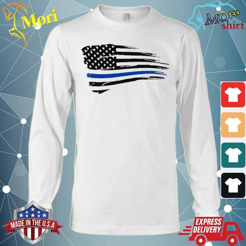 Law Enforcement Police Support Blue Lives Line American Flag Shirt Long Sleeve
