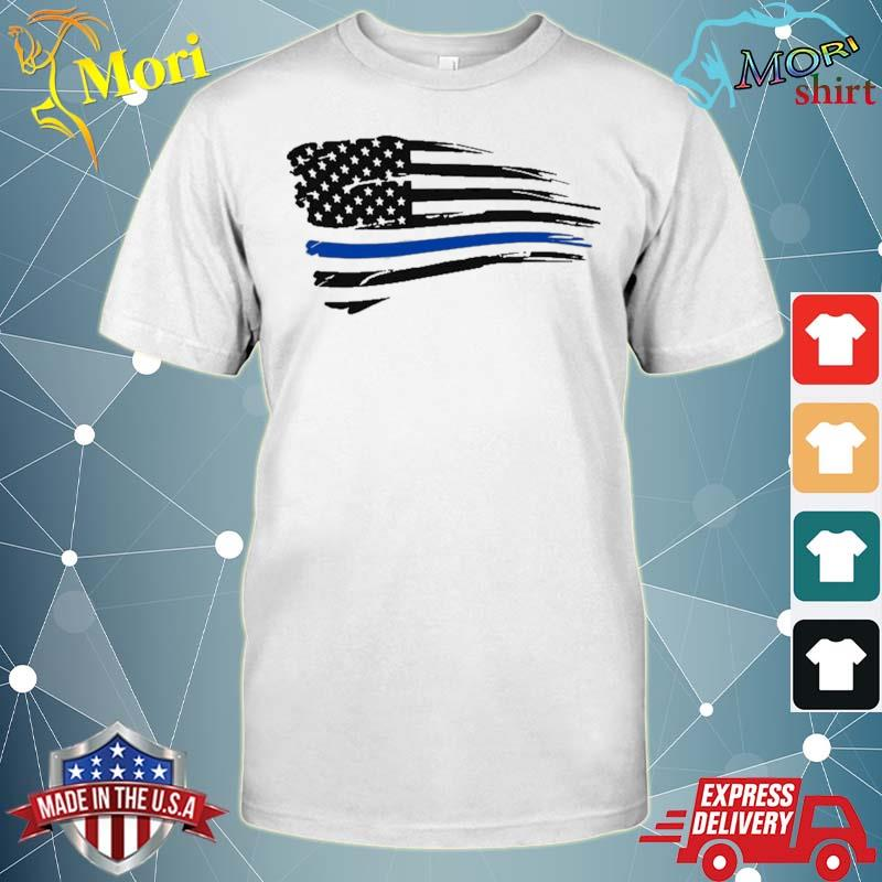 Law Enforcement Police Support Blue Lives Line American Flag Shirt