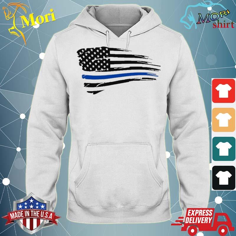 Law Enforcement Police Support Blue Lives Line American Flag Shirt sweater
