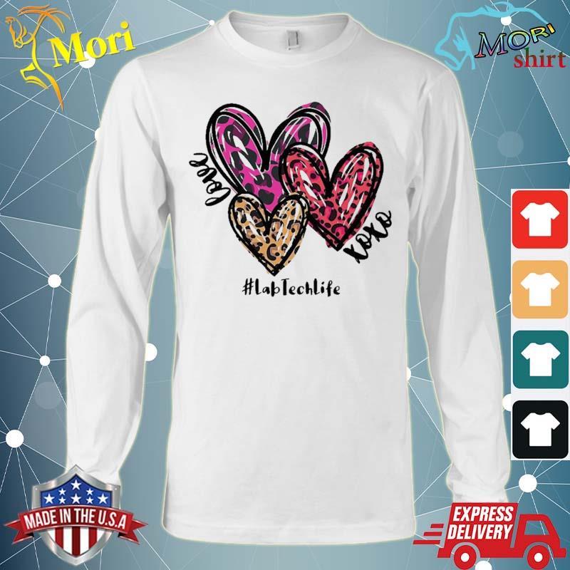 Love Lab Tech Life Heart Leopard Costume Valentine's Day Shirt Long Sleeve