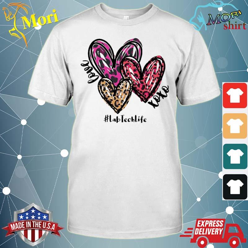 Love Lab Tech Life Heart Leopard Costume Valentine's Day Shirt