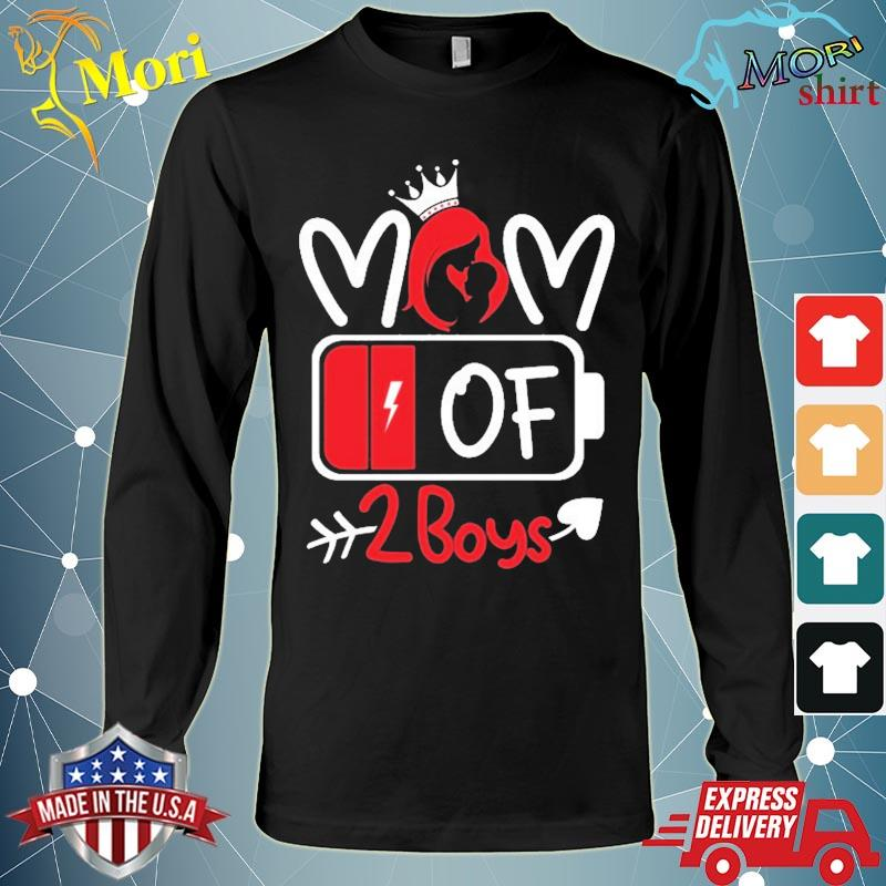 Mom Of 2 Boys Low Battery Tired Mom Crown Heart Mom Life Gift For Mother's Day Shirt Long Sleeve