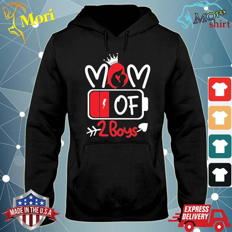 Mom Of 2 Boys Low Battery Tired Mom Crown Heart Mom Life Gift For Mother's Day Shirt sweater
