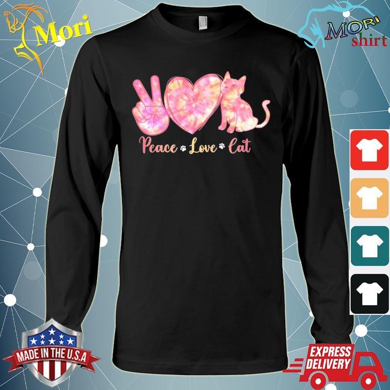 Peace Love Cat Tie Dye Heart Peace Sign Cat Lover Cat Paw Shirt Long Sleeve