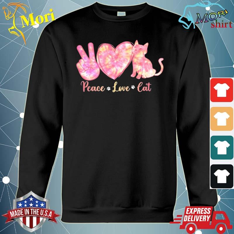 Peace Love Cat Tie Dye Heart Peace Sign Cat Lover Cat Paw Shirt hoodie
