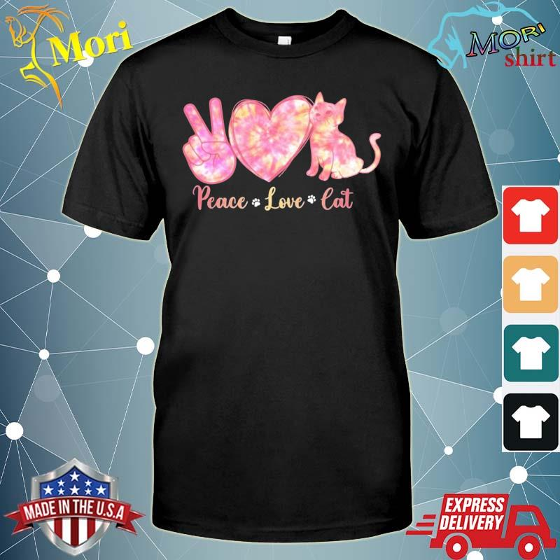 Peace Love Cat Tie Dye Heart Peace Sign Cat Lover Cat Paw Shirt