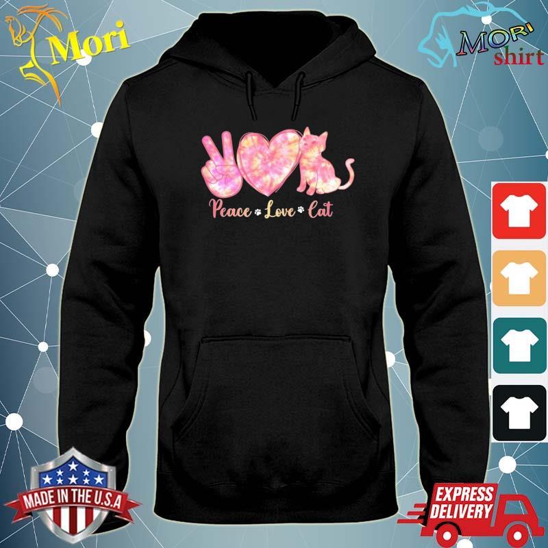 Peace Love Cat Tie Dye Heart Peace Sign Cat Lover Cat Paw Shirt sweater