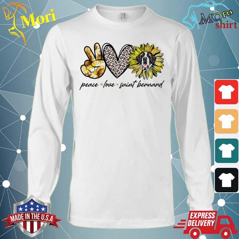 Peace Love Saint Bernard Dog Sunflower Gifts Shirt Long Sleeve