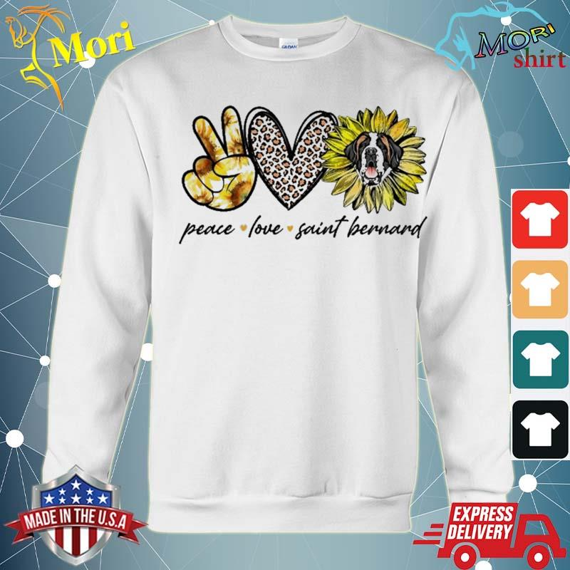 Peace Love Saint Bernard Dog Sunflower Gifts Shirt hoodie