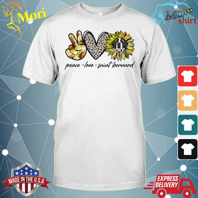 Peace Love Saint Bernard Dog Sunflower Gifts Shirt
