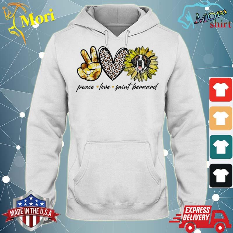 Peace Love Saint Bernard Dog Sunflower Gifts Shirt sweater