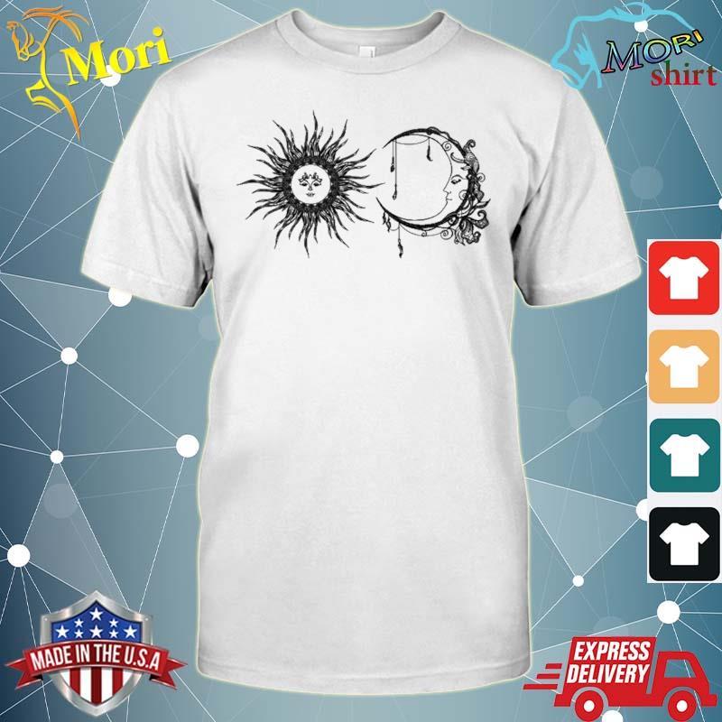 Sun And Moon Boho Hippie Celestial Line Art Aesthetic Top Shirt