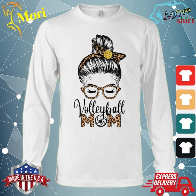 Volleyball Mom Life Messy Hair Bun Leopard Mother's Day Shirt Long Sleeve