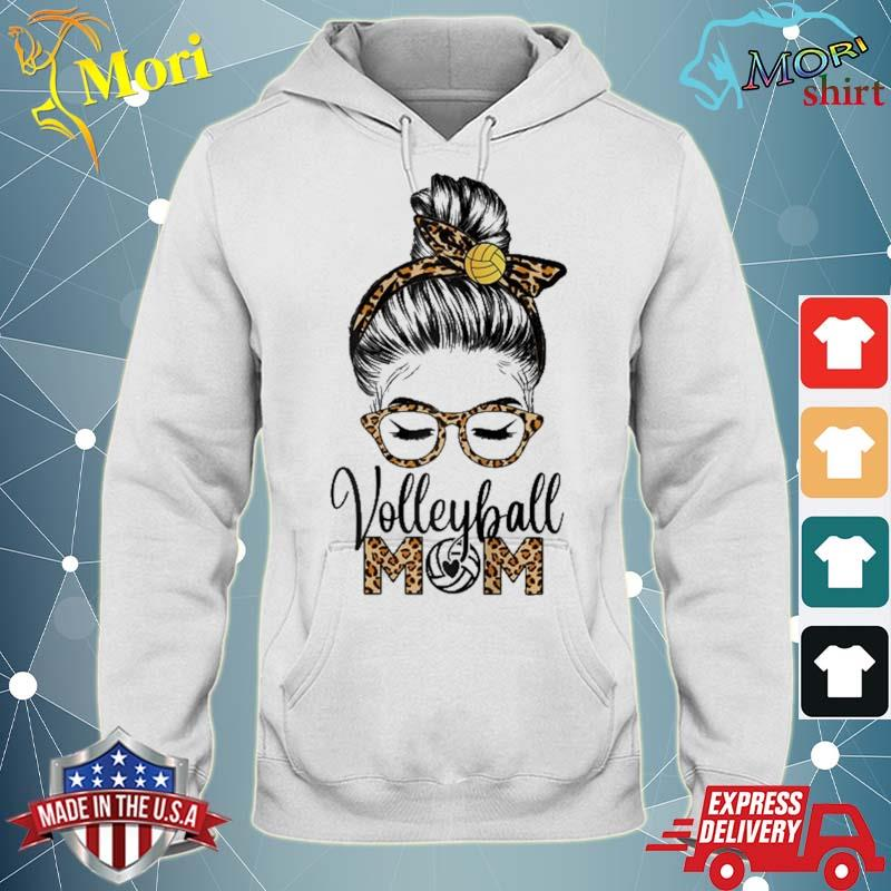 Volleyball Mom Life Messy Hair Bun Leopard Mother's Day Shirt sweater