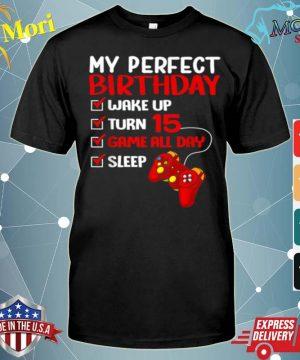 15th Perfect Birthday Gamer Gaming 15 Years Old Boys shirt